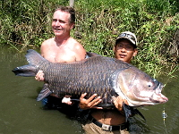 Photo of Giant Siamese carp caught fishing in Thailand on fishing holiday by UK angler in Bangkok fishing lake Bungsamran fishing park.