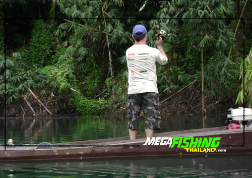 Casting lures for Giant Snakehead at Cheow Lan lake in Southern Thailand